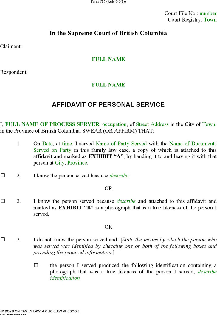 British Columbia Affidavit of Personal Service Form