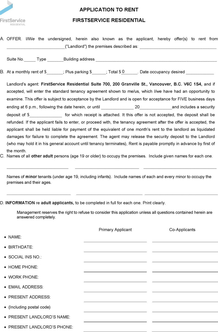 British Columbia Application to Rent Form
