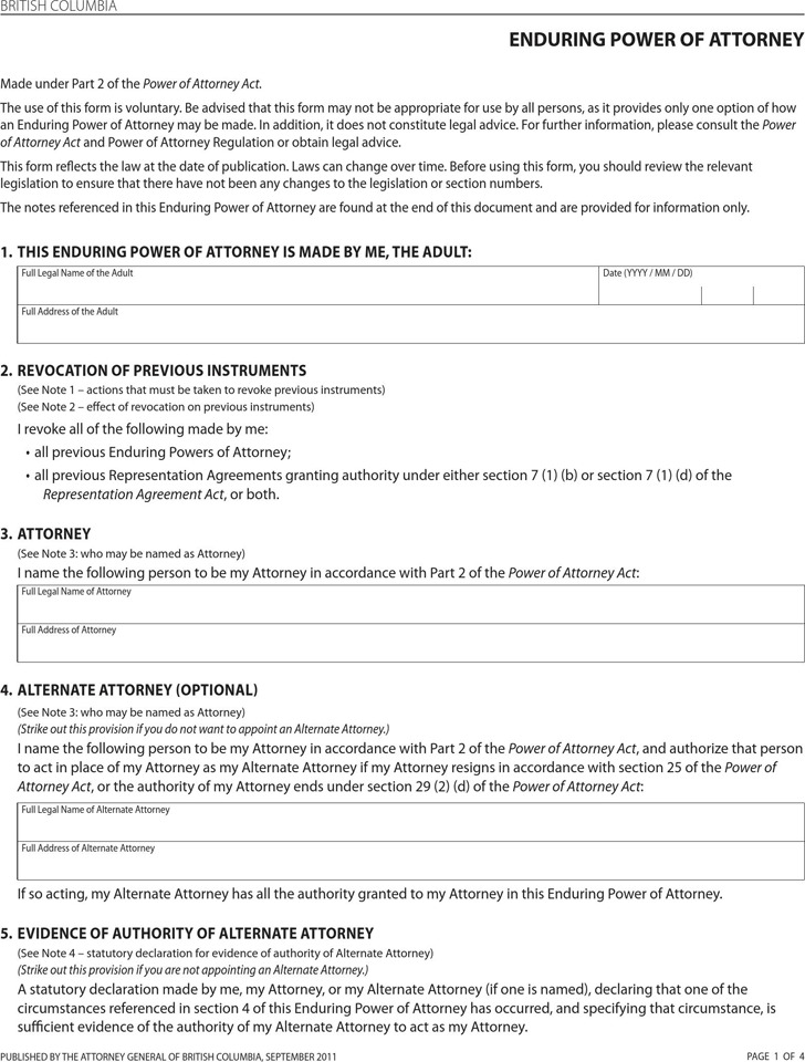 British Columbia Enduring Power of Attorney Form