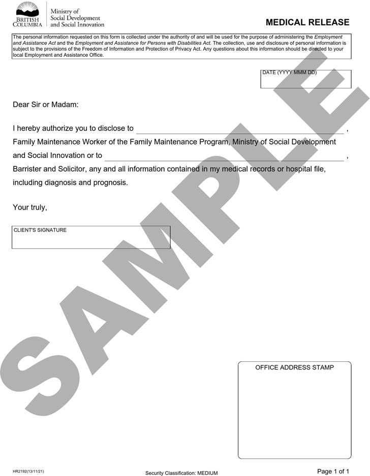 British Columbia Medical Release Sample