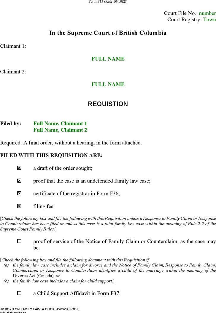 British Columbia Requisition (Joint Claim for Divorce) Form