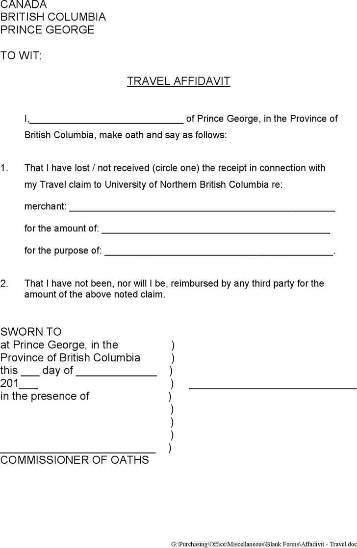 British Columbia Travel Affidavit Form