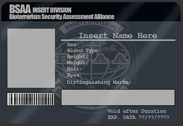 BSAA ID Card PSD Template