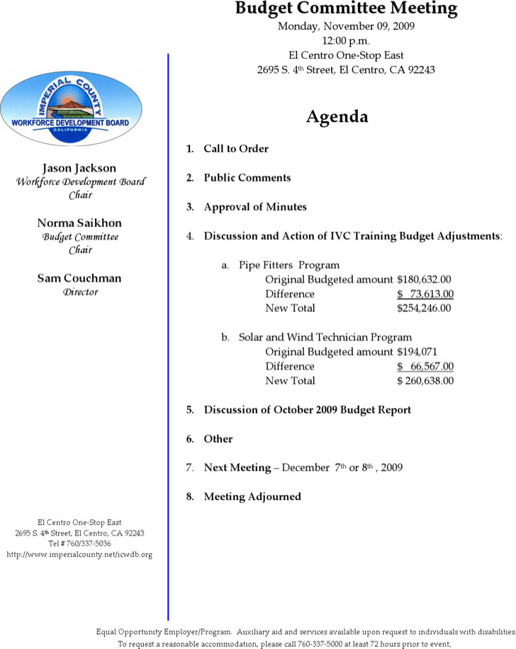 Budget Meeting Agenda Templates  Download Free  Premium