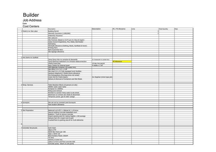 Building Construction Contractor Estimate Template Download