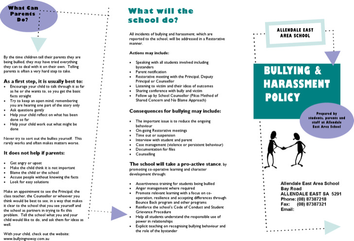 Bullying brochure template download free premium for Bullying and harassment policy template