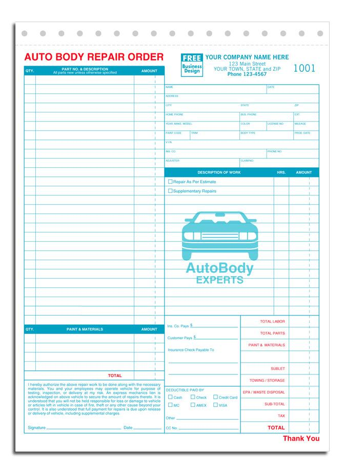 Bureau of Automotive Repair Estimation Template