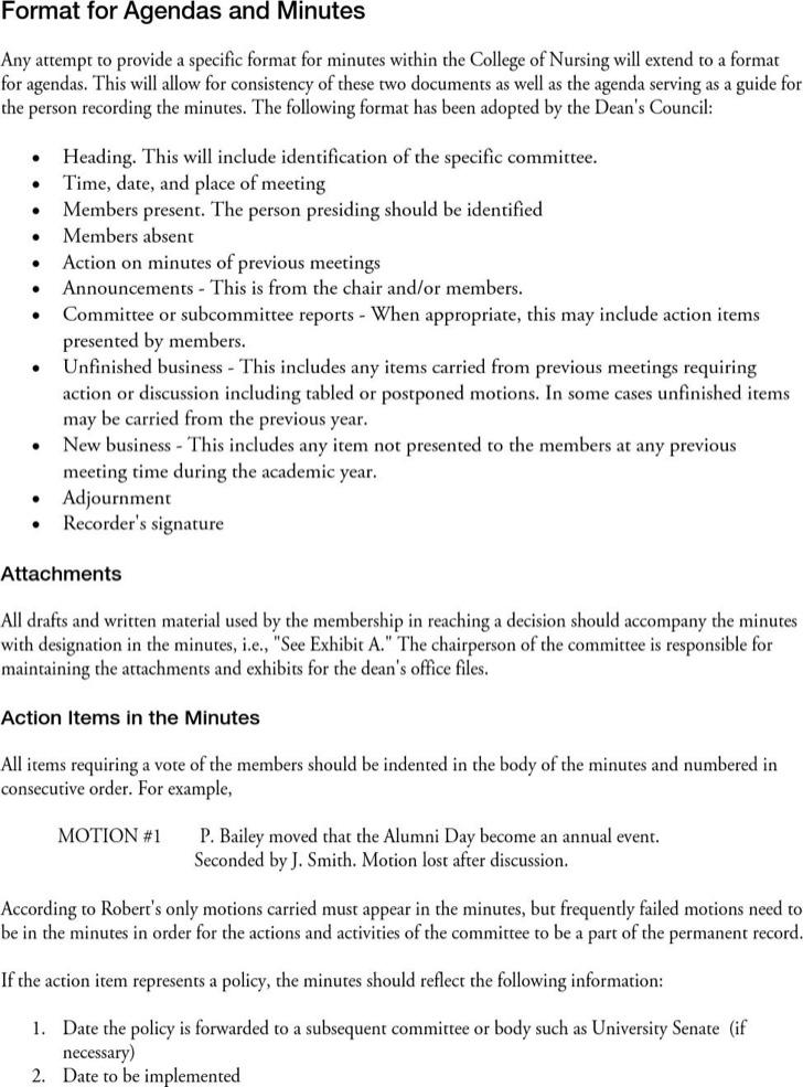 Business Agenda Minutes Pdf