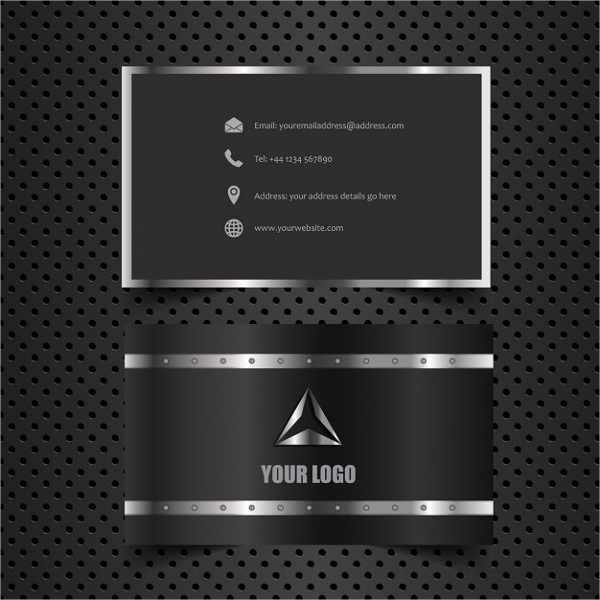 Business Card with Metallic Style Free Vector