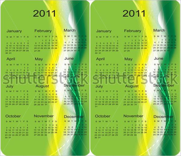 Business Cards Pocket Calendar Template