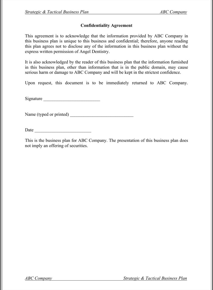 Confidentiality Agreement Form International Non Disclosure