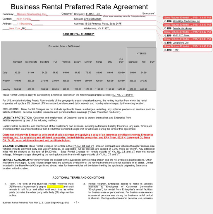 Business Enterprise Rental Agreement