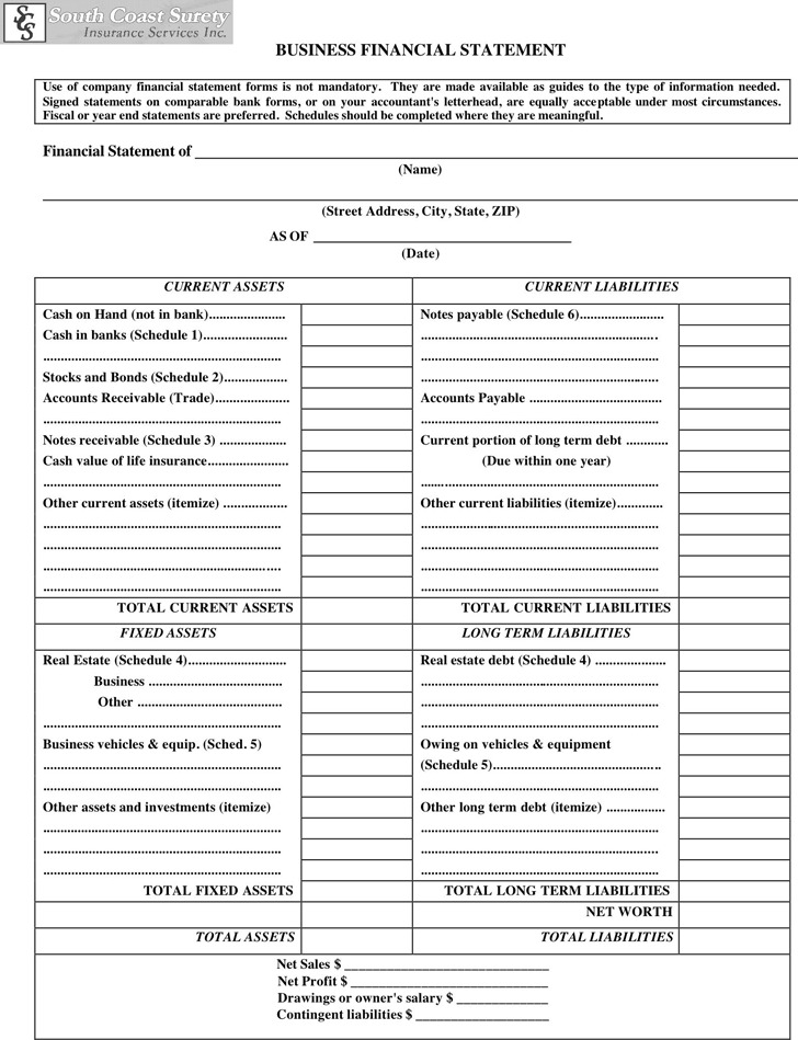 Business Financial Statement Form 2