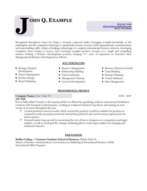 Business Format Resume Template Download