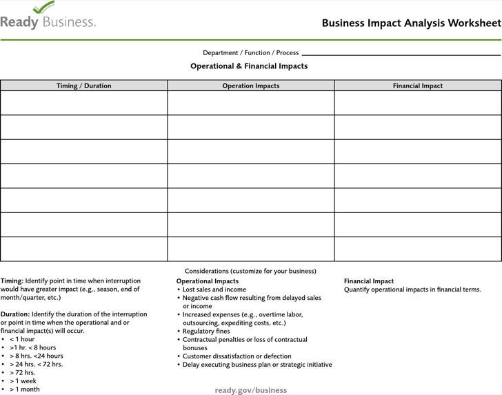 Business Impact Analysis Worksheet