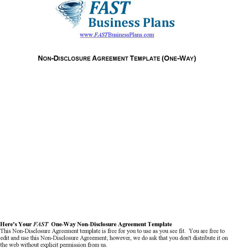NonDisclosure Agreement Templates Download Free Premium - One way nda template