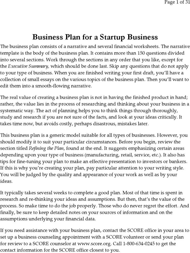 Business Plan For Startup Template