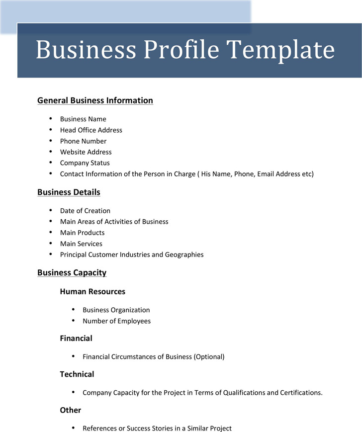 Business Profile Template  Download Free  Premium Templates Forms