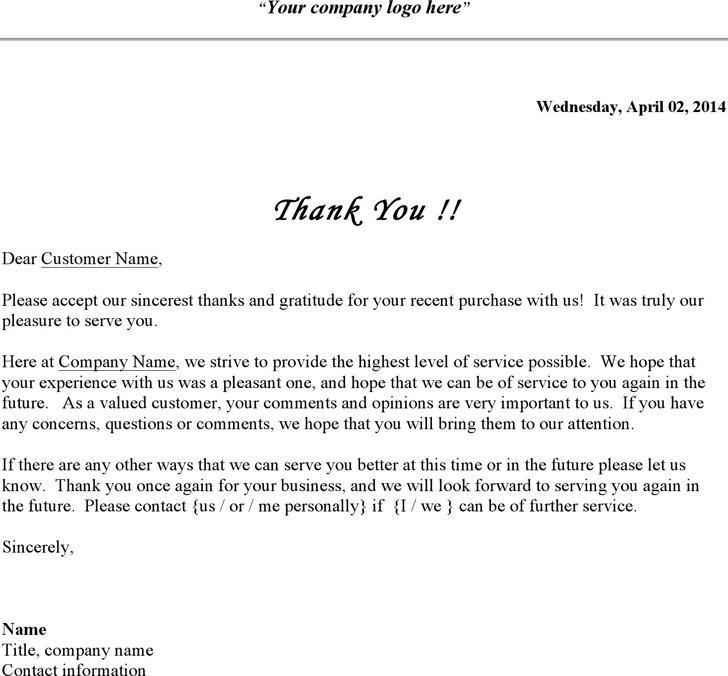Business Thank You Letter | Download Free & Premium Templates