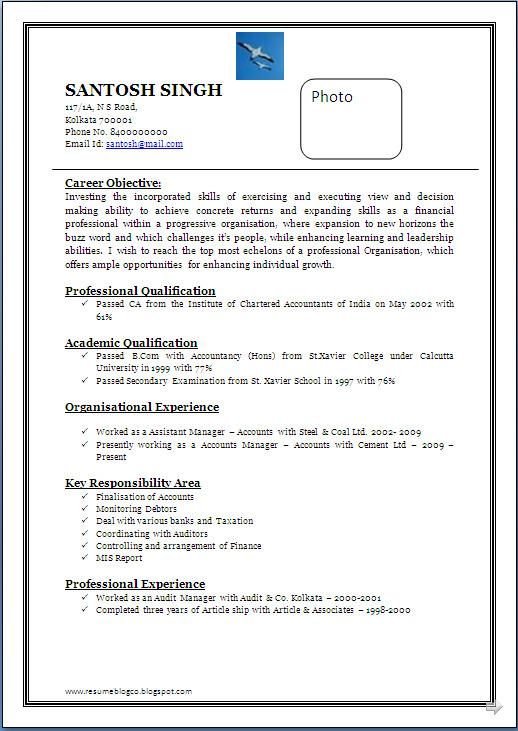 CA Resume Format Template