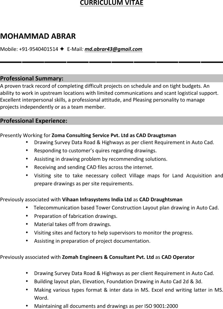architectural drafter resume