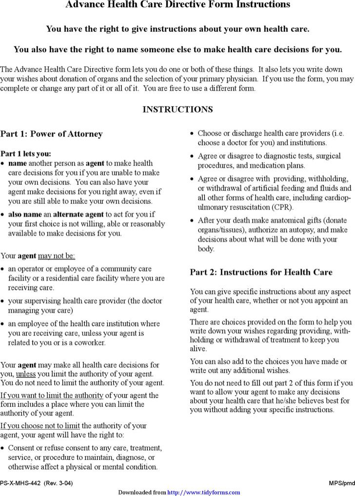 California Advance Directive Form  Download Free  Premium