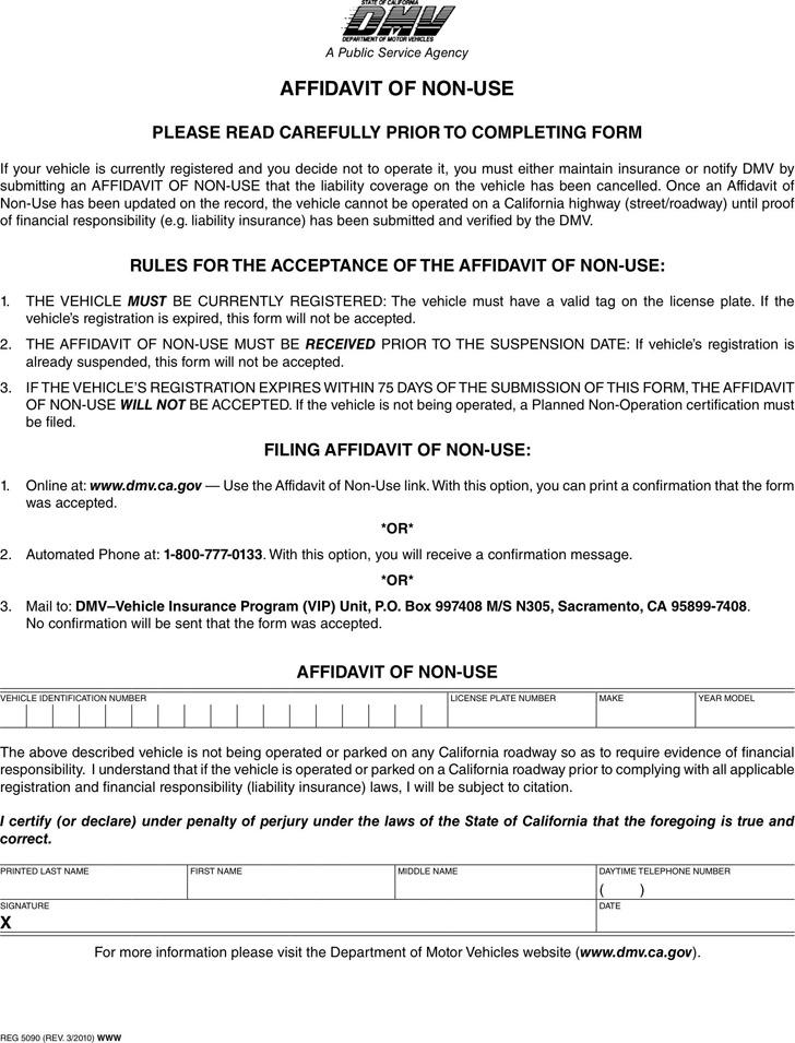 California Affidavit of Non-Use