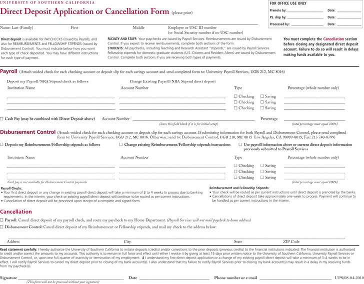 California Direct Deposit Form 1