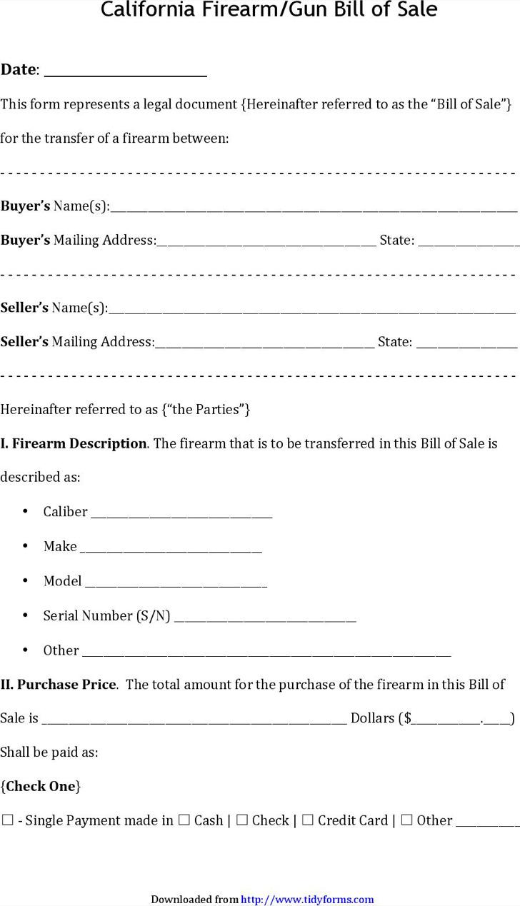 California Firearm/Gun Bill of Sale