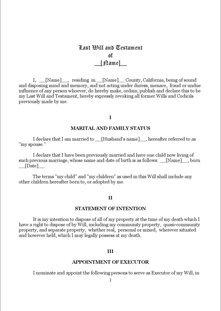 California Last Will And Testament Form 1