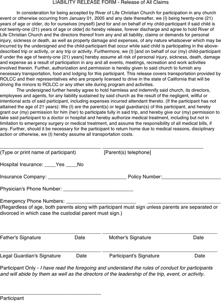 California Liability Release Form 3