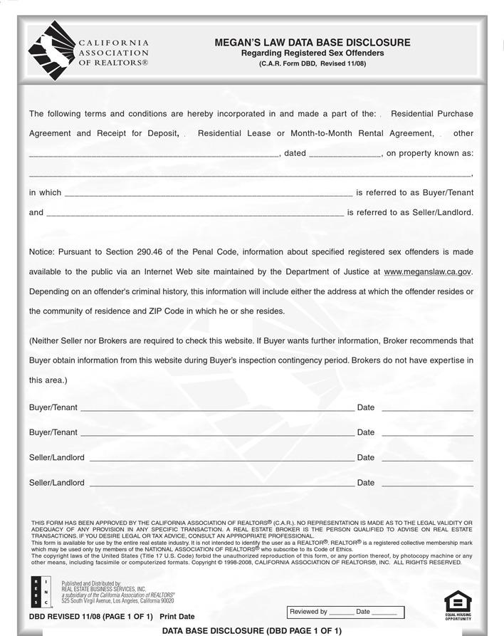 California Megans Law Database Disclosure Form