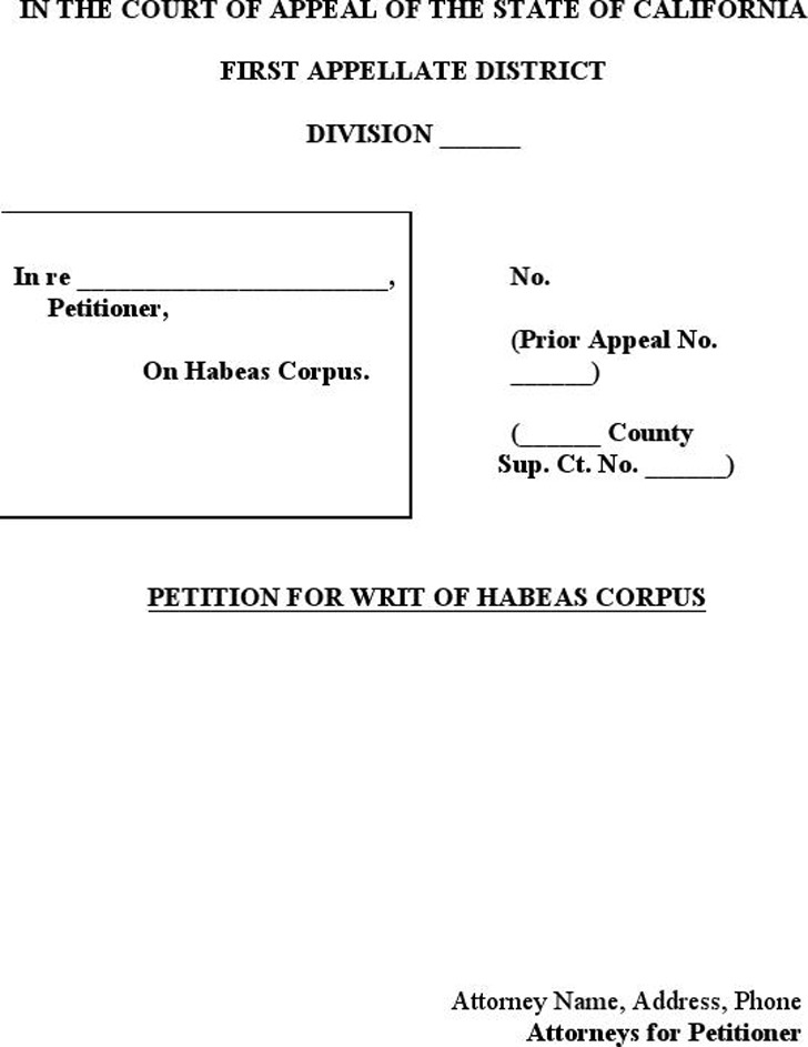 California Petition for a Writ of Habeas Corpus