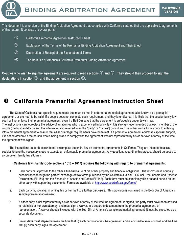 California Prenuptial Agreement Sample