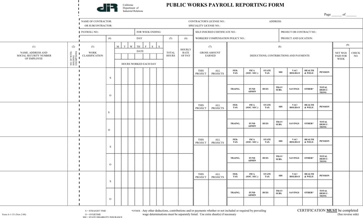 California Public Works Payroll Reporting Form