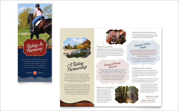 Camp Brochure Template for Horse Riding