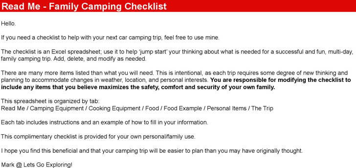 Camping Checklist  Download Free  Premium Templates Forms