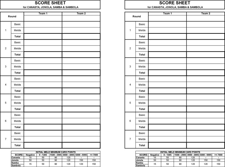 Canasta Score Sheet | Download Free & Premium Templates, Forms