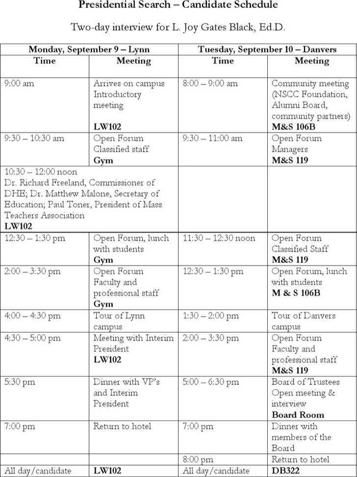 Interview Schedule Templates – Sample Interview Schedule Template