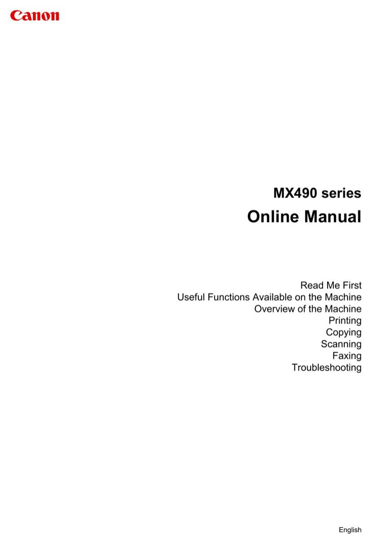Canon User's Manual Sample
