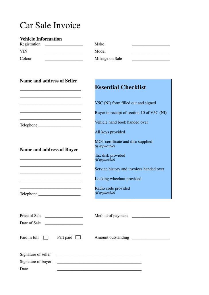 Car Sale Receipt PDF Template UK