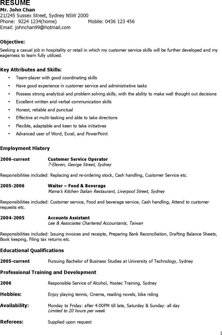 Casual Work Resume