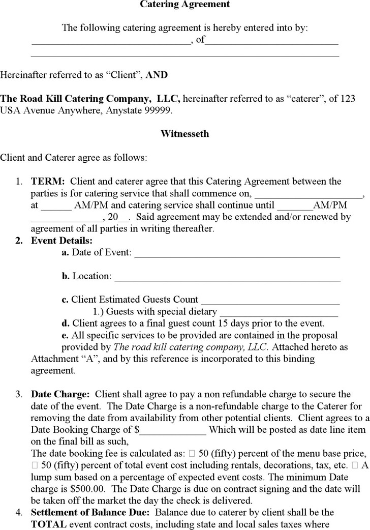 Catering Agreement Template  CityEsporaCo