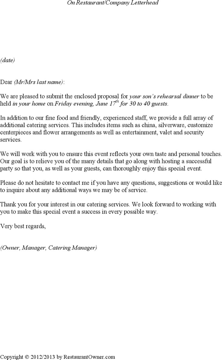 Catering Services Proposal Template