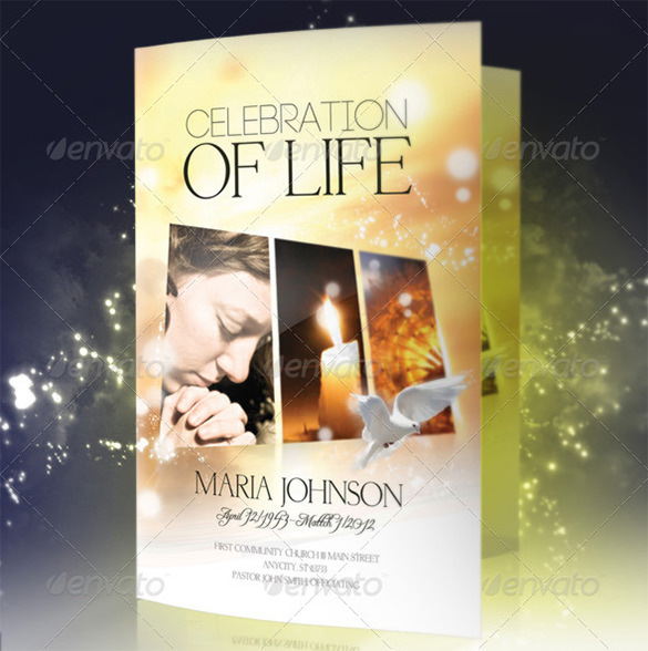 Celebration of life Funeral Program Brochure Template