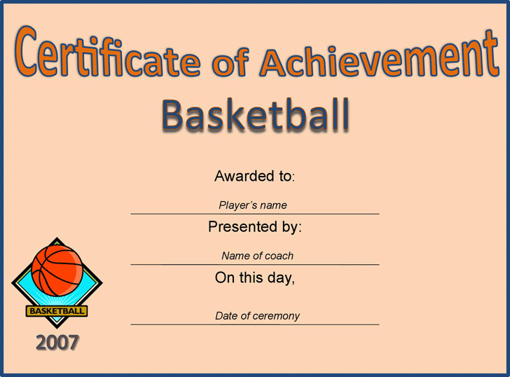 Certificate of Achievement - Basketball