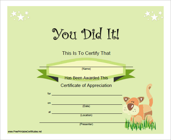 Certificate of Completion Template Free