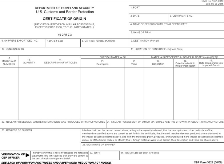 Certificate of Origin Templates – Generic Certificate of Origin Template