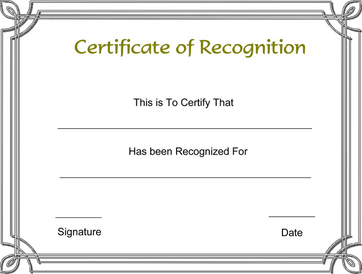 Certificate of Recognition Template 1