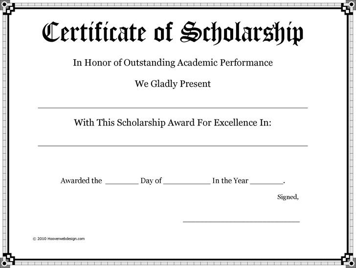 Certificate of Scholarship